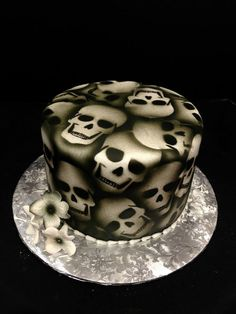 Skull Groom's Cake for a Harley Davidson loving groom. -Jo's Custom Cakes and Catering
