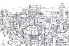 fine line drawing cityscape - Google Search