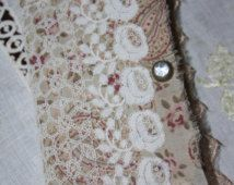 Sweet Mixed Media Old Lace Antique Fabric Journal/Sketch Book/Sisters/Shabby/Primitive