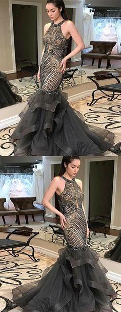 Mermaid Round Neck Long Dark Grey Prom Dress with Beading, unique mermaid prom dresses with beading, glamorous beaded evening gowns #partydress #beadeddress