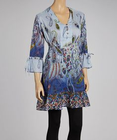 Another great find on #zulily! Blue Paisley Button-Up Tunic by Fashion Fuse #zulilyfinds