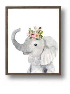 Safari elefante pinturas de animales safari vivero arte