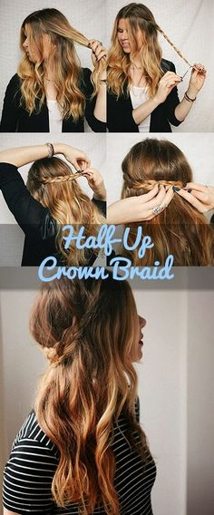 Tutorial: Corona trenzas / Half-up crown braid