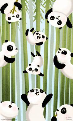 Illustration of pandas falling through bamboo
