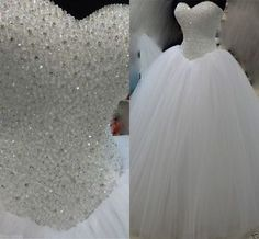 437eb21afbb6 Luxury Beaded Wedding Dress Ball Gown Tulle Bridal Gown Custom Size 4 6 8  10 12