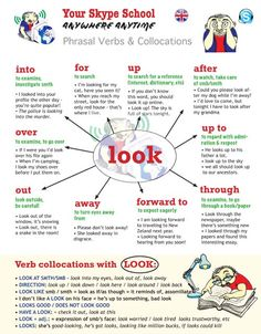 #phrasal #verb #look with #collocations - study #English by yourself or with Your Skype School