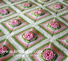 Crochet Pattern Baby Blanket Afghan Bunny Rug with Chrysanthemum Flowers