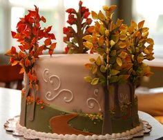 """Autumn Cake"".  Learn  Cake Decorating Techniques Using Online Cakes Decoration Courses on http://CakeDecoratingCoursesOnline.com"