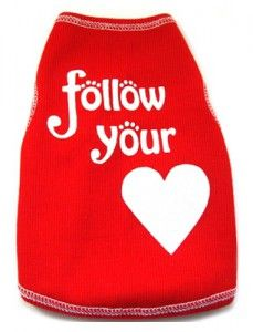 Follow your heart - Red ribbed top for dogs - www.facebook.com/queenofpaws