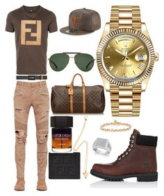 """Casual (Travel)"" by pitbull8382 on Polyvore featuring Fendi, Balmain, Timberland, Yves Saint Laurent, Rolex, Hoorsenbuhs, Marco Ta Moko, Louis Vuitton, Gucci and New Era"