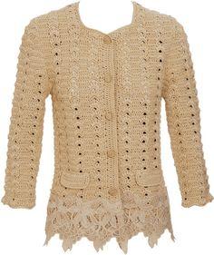 Dolce & Gabbana Gold Crochet and Lace Jacket       ♪ ♪ ... #inspiration_crochet #diy GB http://www.pinterest.com/gigibrazil/boards/