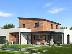 The wood frame house specialist Natilia (AST Group) has built a first positive energy house in the suburbs of Lyon. Wood Frame House, Rustic Room, Sims House, Architecture Student, Pergola Patio, Facade House, Architect Design, House In The Woods, Home Accents