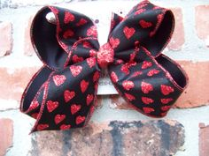 LARGE 2 Layer Black Sheer Red Glitter Hearts Ribbon Marabou Feathers Valentine Hair Bow Karens Creations