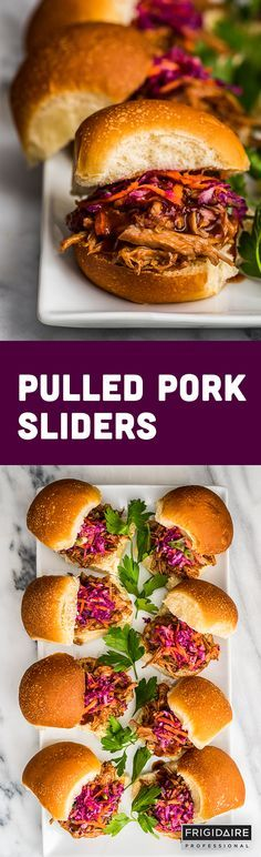 Pulled Pork Sliders are the ultimate party appetizer. This recipe from Dennis Prescott is jam-packed with flavor. Crank Up Your Cooking Tip: Before roasting in the oven, brown pork on the griddle attachment of the Frigidaire Professional range for a delicious, crispy exterior.
