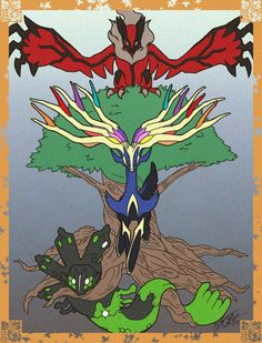 Pokemon Yggdrasil Trio; from top to bottom: Yveltal, Xerneas, and Zygarde