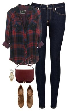 """Navy & deep red"" by steffiestaffie ❤ liked on Polyvore featuring rag & bone/JEAN, H&M, Majorica and Michael Kors"