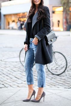 Kat Tanita of With Love From Kat wears Current Elliott boyfriend jeans, Jean-Michel Cazabat grey suede pumps, and a Vince two tone wool coat in New York. http://FashionCognoscente.blogspot.com