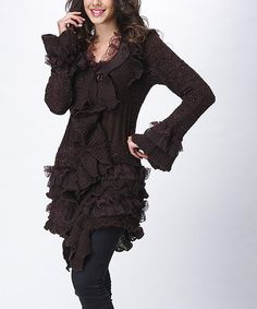 Another great find on #zulily! Coffee Ruffle Wool-Blend Duster - Women #zulilyfinds
