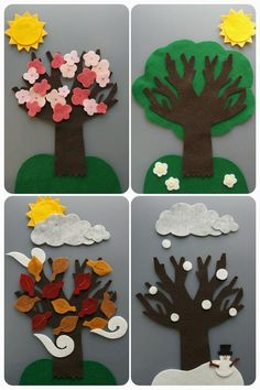 Great for teaching seasons/weather changing 🙂 Felt set includes : pieces) ~ 1 bare tree inches) ~ 1 sun ~ 3 clouds ~ 3 gust of wind ~ 1 grass ~ 1 snowy ground ~ 1 snowman ~ 7 snow ~ 13 leaves ~ 18 cherry blossoms glued together ~ 1 green tree … Flannel Board Stories, Felt Board Stories, Felt Stories, Flannel Boards, Kids Crafts, Felt Crafts, Easy Toddler Crafts, Circle Time Board, Circle Time Activities