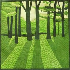 "Art Quilts Around The World : Monochromatic - Chris Daly - ""Spring Green"" Patchwork Quilting, Applique Quilts, Art Quilting, Monochromatic Quilt, Landscape Art Quilts, Green Quilt, Elements Of Design, Free Motion Quilting, Green Trees"