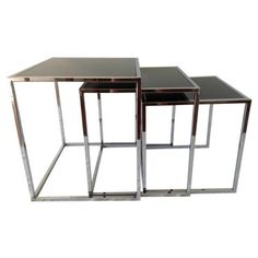 Check out this item at One Kings Lane! Midcentury Chrome Nesting Tables, S/3