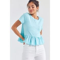 Truly Madly Deeply Babydoll Peplum Tee ($34) ❤ liked on Polyvore featuring tops, t-shirts, pocket tees, short sleeve pocket t shirts, cotton t shirts, blue t shirt and cotton pocket t shirts