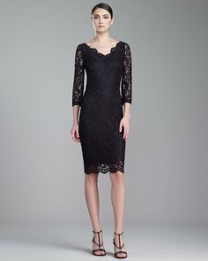 St. John - Shop Online - Fall 2013 First Look - Plume Lace Scalloped Dress, Caviar