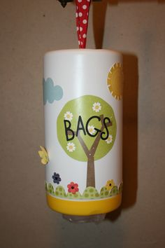 Bag holder, upside down Lysol container