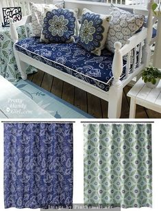 Tip: when sewing items exposed to outdoors, use shower curtains. Porch bench cushion and end table tablecloth. Diy Bench Outdoor, Decor, Bench Cushions, Furniture Diy, Furniture, Home Diy, Patio Furniture Cushions, Patio Furniture, Home Decor