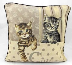 """Cats Vintage Tapestry Cushion Covers 18"""" x 18"""""""