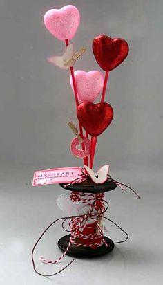 Wooden spool into Valentine centerpiece