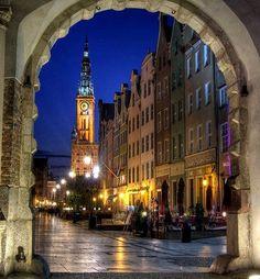 Gdansk old town at dusk, Poland