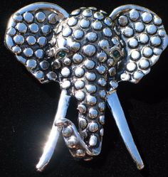 """SILVER TONE ANIMAL SOUTH AFRICAN ASIAN CIRCUS ELEPHANT FACE PIN BROOCH 2 1/4"""" #Unbranded"""