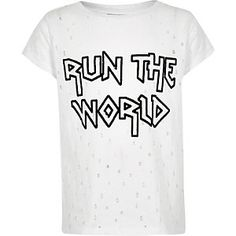 Girls white 'run the world' distress T-shirt