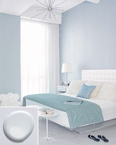 Modern gray bedroom + seafoam green linens: 'Sidewalk Gray' by Benjamin Moore << this would be like sleeping in a cloud, lovely