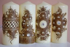 Henna Candle/ Mehndi Candle/ Henna Design/ by TheArtizanAffect