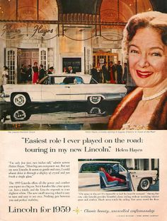 1959 Lincoln Ad featuring Helen Hayes.