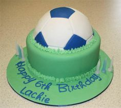 Amanda's Cakes and Invitations - Birthday Cakes- boys half soccer ball grass cake