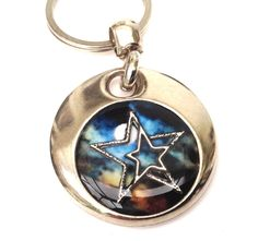 Stars and moon personalised handmade & painted resin set  real charm keyring gift wicca gift by ResinHead on Etsy
