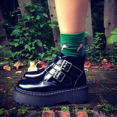 2014 Fashion Women Boots Punk Buckles Platform Leather Creeper HARAJUKU Boots Thick Heel Oxfords Shoes
