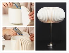 The most beautiful lamp shade ever. Also try going crazy with colour for kid's bedrooms. DIY with just paper plates and glue gun. Led Diy, Retro Furniture, Diy Furniture, Furniture Outlet, Furniture Stores, Luxury Furniture, Diy Karton, Papier Diy, Diy Décoration