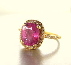 18K gold ring with  Pink Sapphire ring and by ValerieKStudio, $5800.00