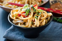Chilled udon noodles tossed lightly with a flavorful garlic-sesame dressing make for an easy-to-prepare healthy and light meal—perfect for warm weather!