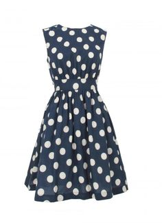 {polka-dots!} what a fun dress. | i saw a girl wearing a dress similar to this with bright yellow shoes, and I really, really want that outfit.