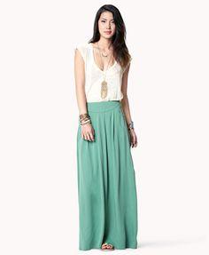 Pleated Maxi Skirt | LOVE21 - 2038175608