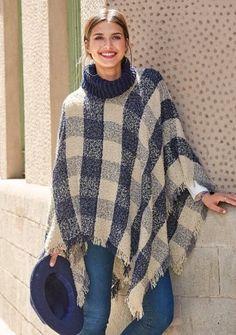 Kostkovaný pončo pulovr #ModinoCZ