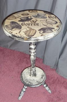 Coffee Table $15 Cate's Closet & Clutter on Facebook #Coffee #table #upcycled #fabric #painted