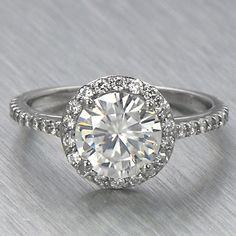 9mm Round Moissanite Halo Engagement Ring Petite | eBay - sold