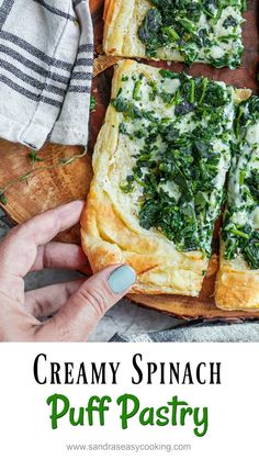 Creamy Spinach Puff Pastry Recipe I have been playing with some really easy recipes lately just like this tasty creamy spinach puff pastry. This pastry is extremely easy and very delicious. Spinach Puff Pastry, Frozen Puff Pastry, Puff Pastry Sheets, Creamy Spinach, Spinach And Feta, Spinach Quiche, Easy Pastry Recipes, Easy Recipes, Amazing Recipes