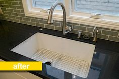 Undermount sink, curved faucet